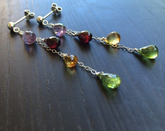 Gemstone cascade earrings. Amethyst Garnet Citrine Peridot. Sterling silver posts