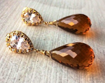 Madeira Citrine Pave Posts Earrings. Sterling, Goldfill, Rose Gold