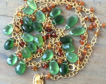 OOAK necklace. Green Russian Serpentine.  Madeira Citrine. Gold fill