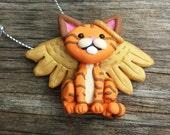Sweet little orange tabby cat angel ornament