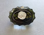 Black Reverse Carved Lucite Brooch White Rose