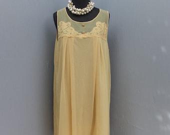 Vintage Texsheen Golden Yellow Chiffon Nightie, Large