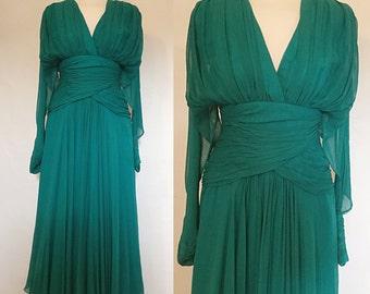 Vintage 80s / Teal Green / Silk / Enrico Gelini / Long Sleeve / V Neck / Holiday / Party Dress / Size 10 / Medium