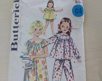Vintage Girls' Sleepwear Lingerie, Top, Pants, Muu-Muu Dress, Shortie Gown, Bloomers - Vintage 1960's Butterick Sewing Pattern 9988- Size 4