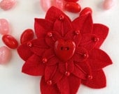 Red Flower Hair Clip - Valentine's - Felt with Red Heart Button, Hand Embroidery and Red Czech Glass Beads