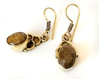 Etsy Earrings,Dangle minimalist Earrings,Tigers eye bezel set earrings,gemstone jewelry,unique Taneesi jewelry.
