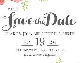 PRINTABLE Floral Save the Date