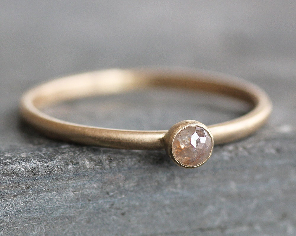 Rose Cut Blush Pink Diamond Ring 14K Solid Gold Band 3mm