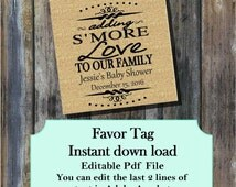 """S'more love to our family burlap baby shower favor tag 3"""" x 3"""" - Editable Instant download Printable - Burlap SMED5051  DIY (1- PDF file)"""