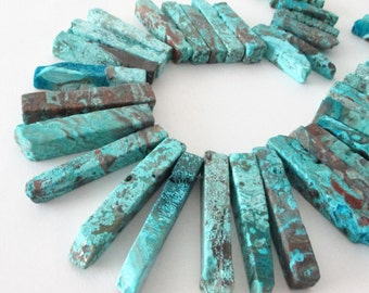 Turquoise Ocean Jasper Spike Point Beads - Natural Gemstone - Rough Plating Jasper - Thick Top drilled Beads - 10 Pcs - DIY Boho Jewelry