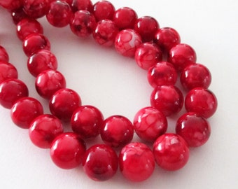 "Red Porcelain Round Beads - Smooth Round Marbled Beads - Red Beads - Drilled Stone Beads - 12mm - 16"" Strand - Diy Christmas Jewelry Making"