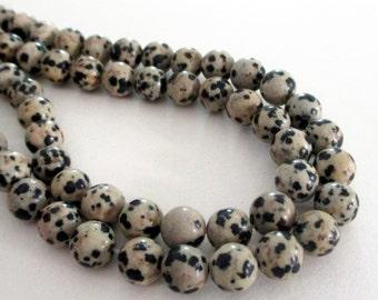 "Dalmatian Jasper Beads - Tan Black Smooth Round Jasper Beads - Natural Stone Beads - Freckled Jasper - 8mm - 16"" Strand - DIY Jewelry Making"