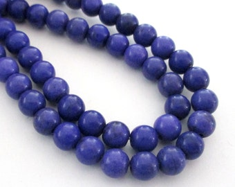 "Howlite Round Beads - Byzantium Purple Smooth Gemstone - Round Ball Beads - 6mm - 16"" Strand - DIY Jewelry Beading"