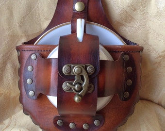 Brown Leather Tea Cup Steampunk Holster Set