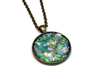 Faux Druzy, Opal, Glitter Necklace, Green Pendant, Sparkly Jewelry, Handmade Gifts