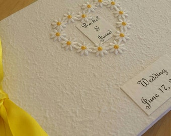 Personalized Daisy Heart Wedding Guest Book