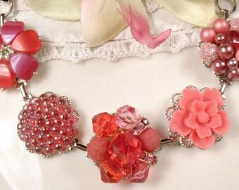 OOAK Bohemian Pink Red Crystal Bead Bridesmaid Bracelet Vintage Cluster Earring Bracelet Flower Charm Bright Raspberry Watermelon Boho