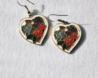 Vintage Cloisonne Heart Dangle  Earrings