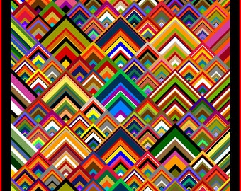 """NEW - PINNACLES - 75""""x 75"""" Double or 57""""x 57"""" Lap - Quilt-Addicts Pre-cut Quilt Kit or Finished Quilt"""