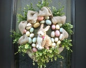 Easter Egg Wreath, Burlap Easter Wreath, Easter Bunny Wreath, Spring Wreath, Easter Decorations