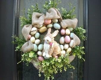 Easter Egg Wreath, Burlap Easter Wreath, Easter Bunny Wreath, Spring Wreath, Easter Decorations