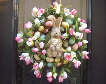 Easter Wreath, Easter Egg Wreath, Tulip Wreath, Bunny Wreath, Easter Decorations, Wreaths