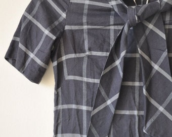 ON SALE Vintage 1950's Shades of Grey Plaid School Girl/Teen Dress extra small