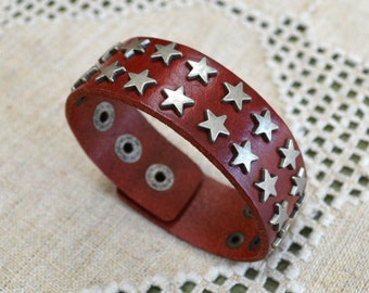 Urban Button Bracelet Red Leather and Steel Steel Spikes 27mm Wide Leather Cuff Men Women