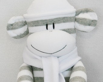 Sock Monkey Grey and White Stripes with White Hat and Scarf Baby Toy