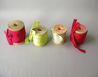 Silk ribbon, vintage wood spools, red, green