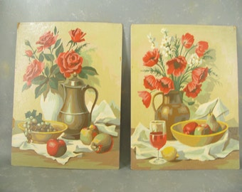Vintage Paint by Number, still life, floral, set, two, reds, roses, poppies, flowers