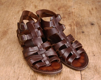 ROMANA - Leather sandals - 90s does 60s - Hippie sandals - Roman - Greacian - Greek - gladiator -  BOHO - Hippie - Hipster - barefoot sandal