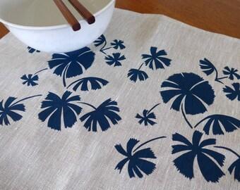 Linen Placemats Screen Printed Linen Place Mats Hand Printed Linen Table Mats Blue&Natural Australian Fan Palm (set of 4)