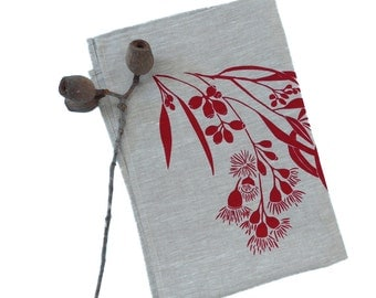 Linen Tea Towel Screen Printed Tea Towel Hand Printed Red&Natural Australian Eucalypt