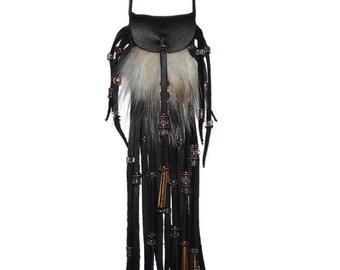 Badger fur neck pouch leather medicine bag pow wow mountain man totem boho hippie