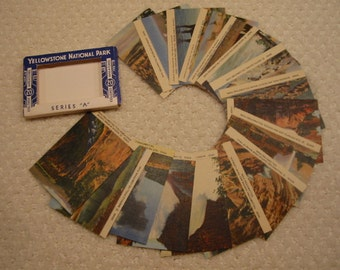 Vintage Souvenir Colored Miniatures of Yellowstone Nat'l Park . . Series A . . from the 1950's . . excellent condition . . printed in U.S.A.
