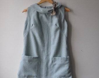 SHOP CLOSING SALE Repurposed vintage dress Tweed Mint Green Mod Mini Shift Dress Medium Large