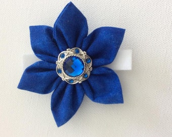 Royal Blue Dog Collar Flower with Rhinestone Center- Ready to Ship
