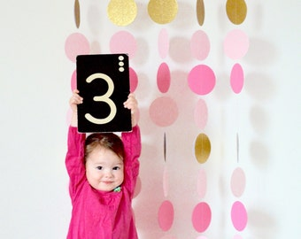 Photo Booth Backdrop Garland Set, large circle garlands in shades of pink and gold glitter - custom colors available
