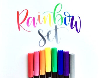 Tombow dual-tip brush marker RAINBOW SET - set of 8 tombow pens for handlettering, drawing  and calligraphy