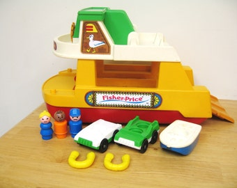 Vintage Fisher Price Little People Ferry Boat With Ramp - Rare