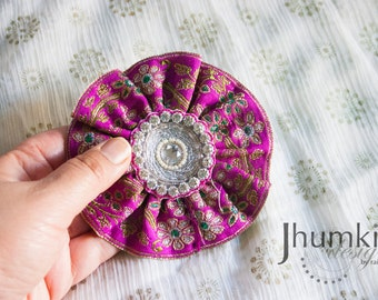 Pink Pushpa - 1 Bollywood Applique and Trim HAIR CLIP by jhumki designs by raindrops