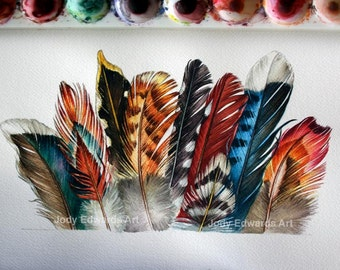 Feathers Watercolour - Original watercolor of feathers