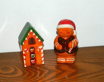 Gingerbread Man & House Christmas Salt and Pepper Shakers