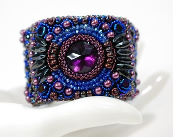 Blue and Purple Bead Embroidered Cuff Bracelet