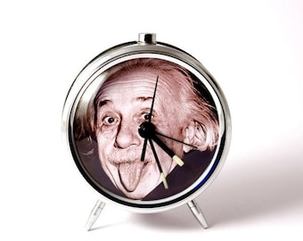25% OFF ON SALE Alarm clock Albert Einstein tongue mechanical alarm clock handmade