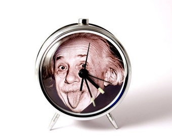 25% OFF ON SALE Alarm clock Albert Einstein tongue mechanical alarm clock handmade