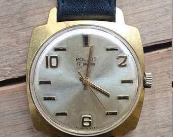 25 OFF SALE Mens watch Poljot, mens wrist watch from Russia Soviet Union, Vintage retro style, gold covered