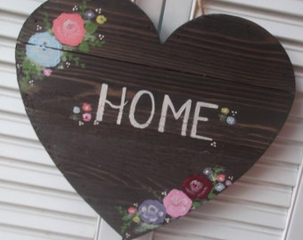 Home Sign Rustic Wooden Hand Lettered Sign Hand Painted Heart Sign Floral Botanical
