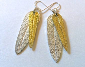 Sage leaf jewelry, Summer earrings, Gold and silver, mixed metal, gold leaves, silver leaves, gift for her, birthday gift